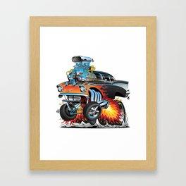Classic hotrod 57 gasser drag racing muscle car cartoon Framed Art Print