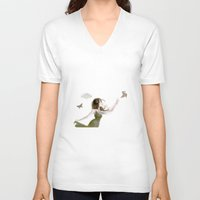 origami V-neck T-shirts featuring Origami by CokecinL