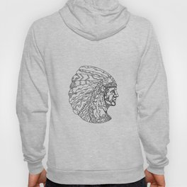 American Plains Indian with War Bonnet Doodle Hoody