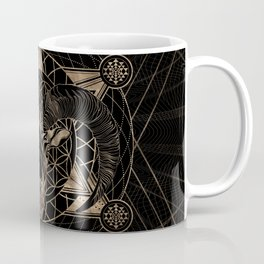 Ram in Sacred Geometry Composition - Black and Gold Coffee Mug