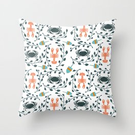 Lobster and Crab Motif Throw Pillow