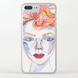 Wild-Hair Lady No.1: #FemaleEmpowerment #Watercolors Clear iPhone Case