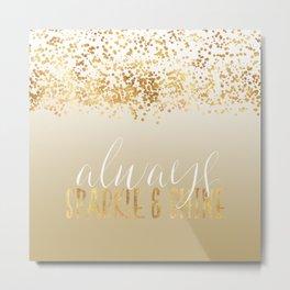 Gold Confetti Ombre Sparkle Metal Print