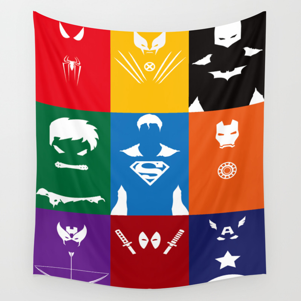 Spider Man Hulk Iron Sign Captain Wall Tapestry by Papperart TPS8392508
