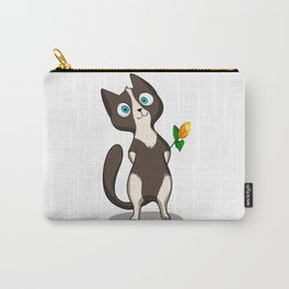 Tuxedo cat with flower Carry-All Pouch