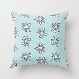 Jewelbox: Diamond Brooch Repeat in Eggshell Aqua Throw Pillow