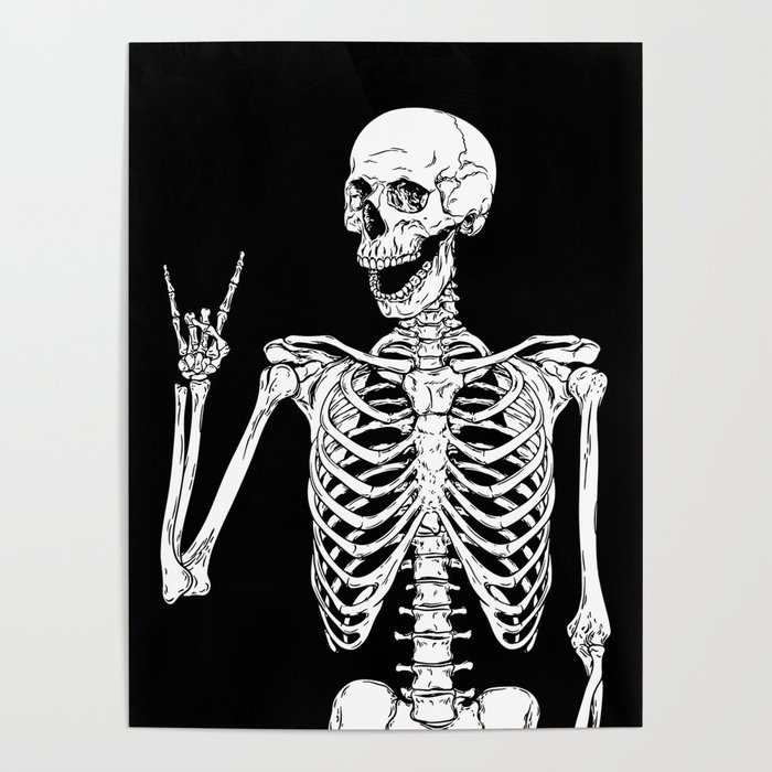 Rock and Roll Skeleton Poster