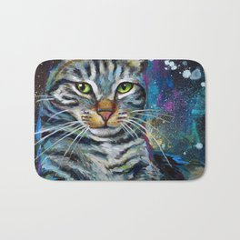 Galactic Cat In Space Painting by Robert Phelps Bath Mat