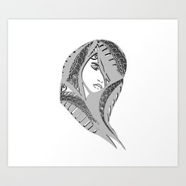 zentangle portrait 6 Art Print