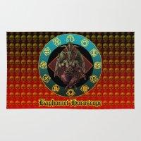 baphomet Area & Throw Rugs featuring Baphomet and horoscope by kuuma