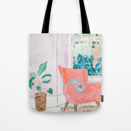 A Room with a View - Pink Armchair by the Window Tote Bag