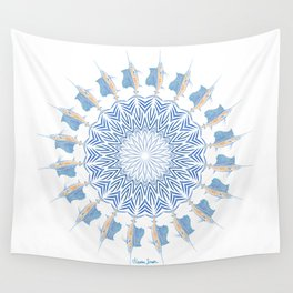 Tribal Sailfish Mandala V2 Wall Tapestry