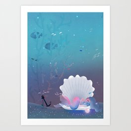 A little mermaid sleeping inside a sea shell Art Print