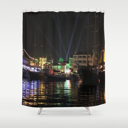 Marmaris Marina Nightscape Shower Curtain