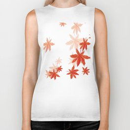 Falling red maple leaves watercolor painting Biker Tank