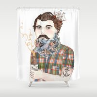 ale giorgini Shower Curtains featuring Flock of Beards by Brooke Weeber