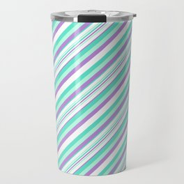 Deep Sea Green Turquoise Violet Inclined Stripes Travel Mug