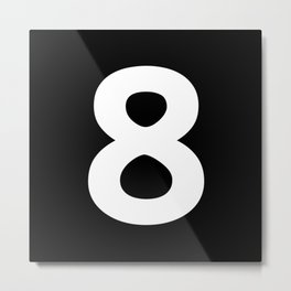 Number 8 (White & Black) Metal Print