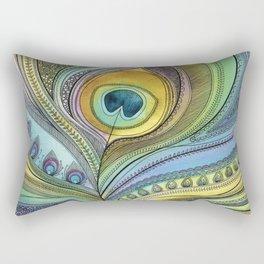 Intricate Peacock Feather Rectangular Pillow