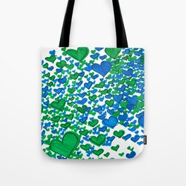 Love Collides - Blue & Green Hearts Tote Bag