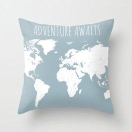 Adventure Awaits World Map in Slate Blue Throw Pillow