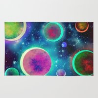 planets Area & Throw Rugs featuring Festive Planets by SensualPatterns
