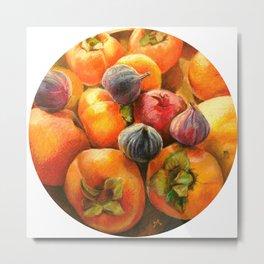 Round Persimmon Metal Print