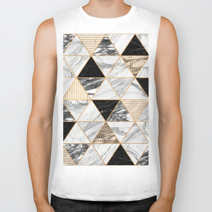 Marble Triangles 2 - Black and White Biker Tank