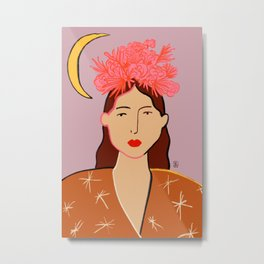 GIRL WITH FLOWER CROWN Metal Print