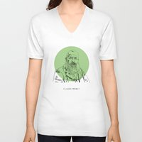 monet V-neck T-shirts featuring Claude Monet by Mark McKenny