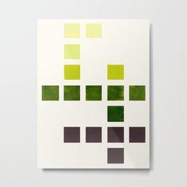 Colorful Olive Green Mid Century Modern Minimalist Square Geometric Pattern Metal Print