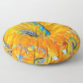 ORANGE & BLUE NAUTILUS ABSTRACT ART Floor Pillow