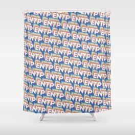 ENTP Trendy Rainbow Text Pattern (Blue) Shower Curtain
