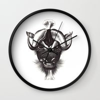 buffalo Wall Clocks featuring Buffalo  by tangledribbons
