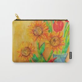 Little Sunflowers and Tulips Carry-All Pouch