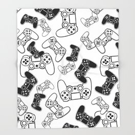 Video Games Black on White Throw Blanket