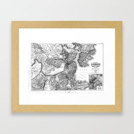 Vintage Map of Boston Massachusetts (1871) BW Framed Art Print