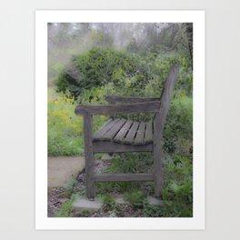 Misty Bench Art Print