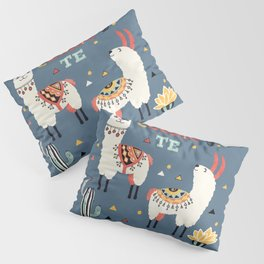 Como te Llamas. Funny Spanish Word Humor. Potted Cacti and two Llamas Pillow Sham