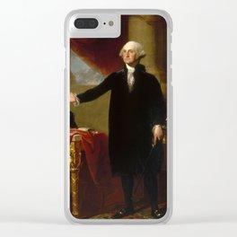 Vintage George Washington Portrait Painting 2 Clear iPhone Case
