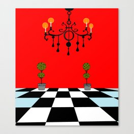 A Chandler with Topiary with Red wall paper Canvas Print