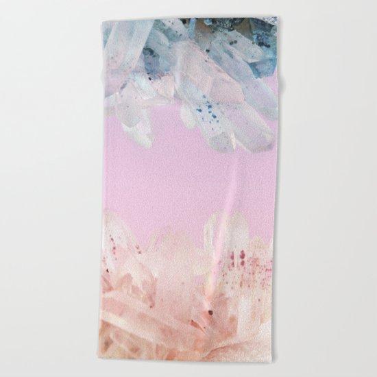 Serenity and Rose Quartz Crystals Beach Towel
