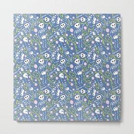 skeletons in spring - horizon blue - white Metal Print