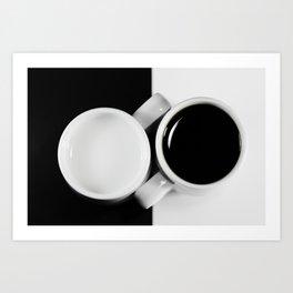 Yin & Yang, coffee and milk in Cups Art Print