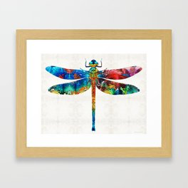 Colorful Dragonfly Art By Sharon Cummings Framed Art Print