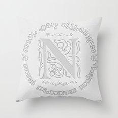 Joshua 24:15 - (Letterpress) Monogram N Throw Pillow