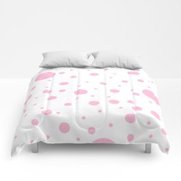 Mixed Polka Dots - Cotton Candy Pink on White Comforters