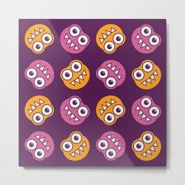 Purple Pink And Orange Bugs Pattern Metal Print