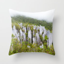 Limestone pinnacles formation at Gunung Mulu national park Borneo Malaysia Throw Pillow