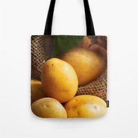 potato Tote Bags featuring potato sack by Tanja Riedel
